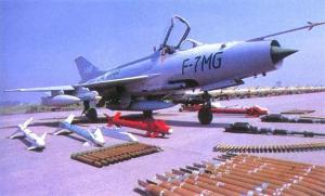 MIG-21 produksi Cina (F7) dengan arsenal persenjataan