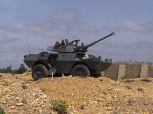 V-150 versi meriam 90mm. Dalam gambar meriam menggunakan jenis Cockerill. V-150 TNI-AD menggunakan meriam kaliber yang sama buatan Meca
