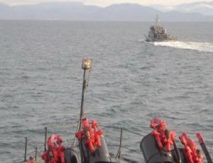 KRI tengah mengejar kapal perang Malaysia