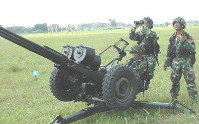 kanon Triple Gun kaliber 20mm, arsenal andalan Paskhas TNI AU untuk pertahanan titik.