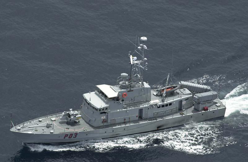 KDB Pejuang (kini KRI Badau), tampak masih dilengkapi rudal anti kapal MM-38 Exocet