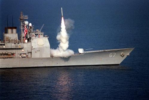 Rudal jelajah Tomahawk, salah satu rudal dengan sistem peluncur VLS