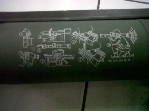 Pada tabung peluncur diberikan informasi cara penggunaan