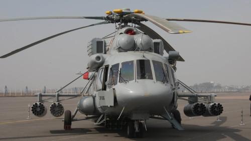 Mi-17-V5 milik India, tampil dalam versi lengkap dengan 4 tabung peluncur roket