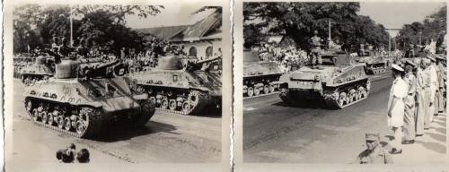 Defile tank Sherman sekutu pada 31 Agustus 1946 di Surabaya.