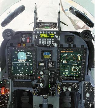 Kokpit F-5E Tiger AU Brazil setelah di upgrade