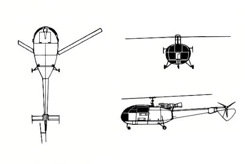 Tampilan 3D Alouette III