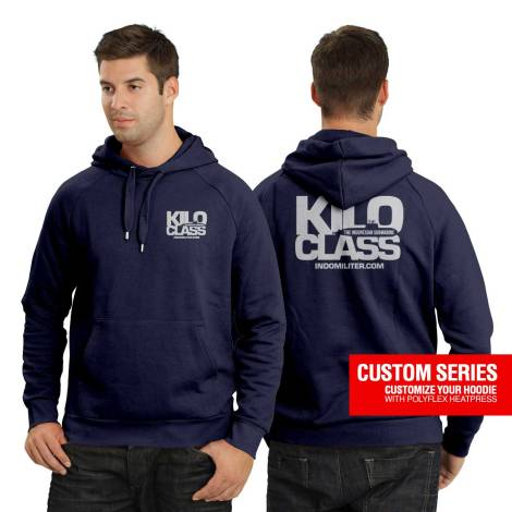 Hoody Custom Series - Rp200.000. Cotton Fleece, sablon depan-belakang danPolyflex heat press.