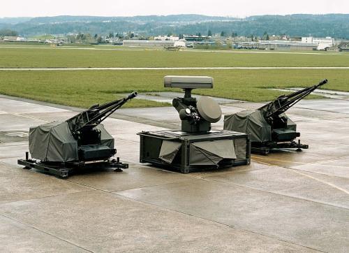 Oerlikon Skyshield dengan  mengapit sensor unit