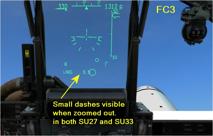 Simulasi HUD (head up display) pada Sukhoi Su-27.