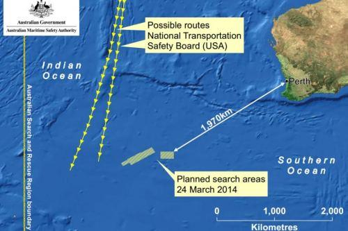Area yang diduga tempat berakhirnya penerbangan MH-370