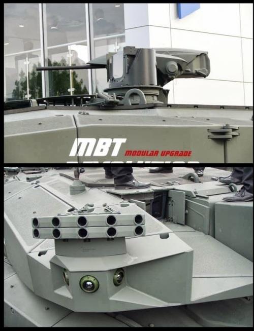 Desain pelontar granat asap dan senapan mesin kaliber 12,7 mm cukup modern, senjata dioperasikan secara remote.
