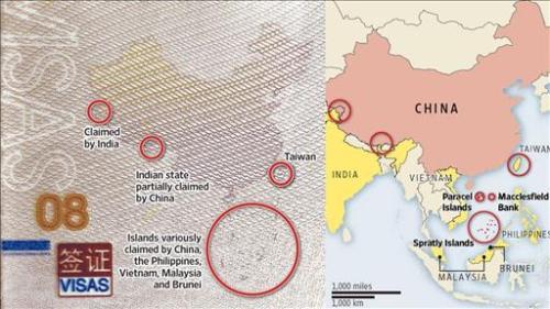 Cakupan wilayah sengketa di Laut Cina Selatan pada paspor Tiongkok.