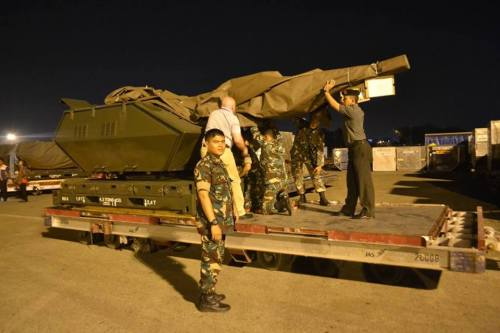 Lewat carrgo udara, Skyshield pesanan TNI AU telah tiba di Tanah Air.