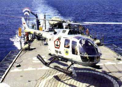 NBO-105 mendarat di deck Van Speijk Class.