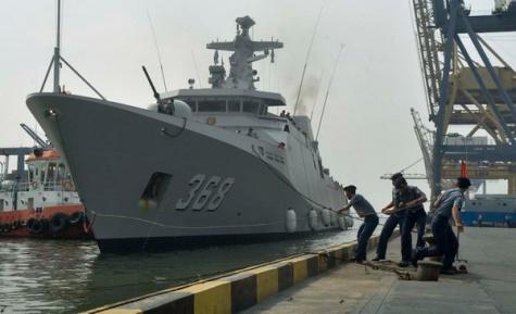 KRI Frans Kaisiepo -368 jenis korvet tiba di Komando Lintas Laut Militer (Kolinlamil) Tanjung Priok, Jakarta Utara, Jumat (22/5).