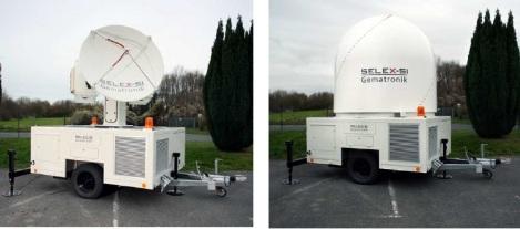 Tampilan radar Meteor 50DX dengan radome dan tanpa radome terpasang.