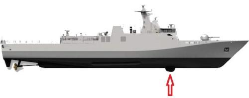 Posisi hull mounted sonar di KRI Frans Kaisiepo 368 (SIGMA Class).