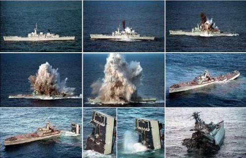 Efek ledakan dari torpedo.